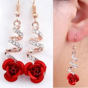 LAST 1 🥳🌹 Rosie Rhinestone Red Flower Earrings